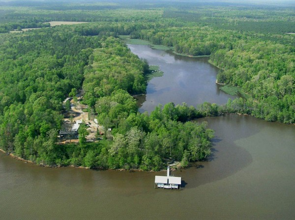 A view from the James River showing the Rice Center property including Lake Charles