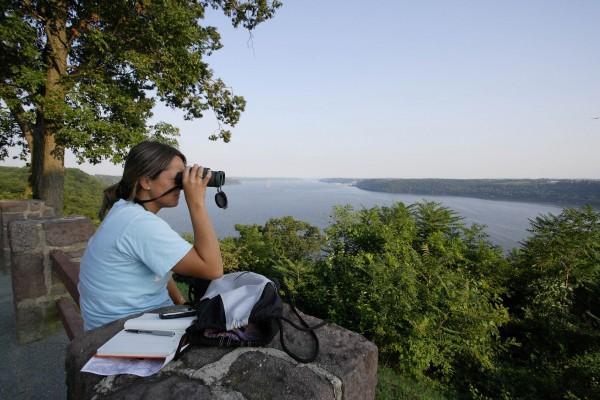 Beth Dzula surveys for bald eagles along the Susquehanna