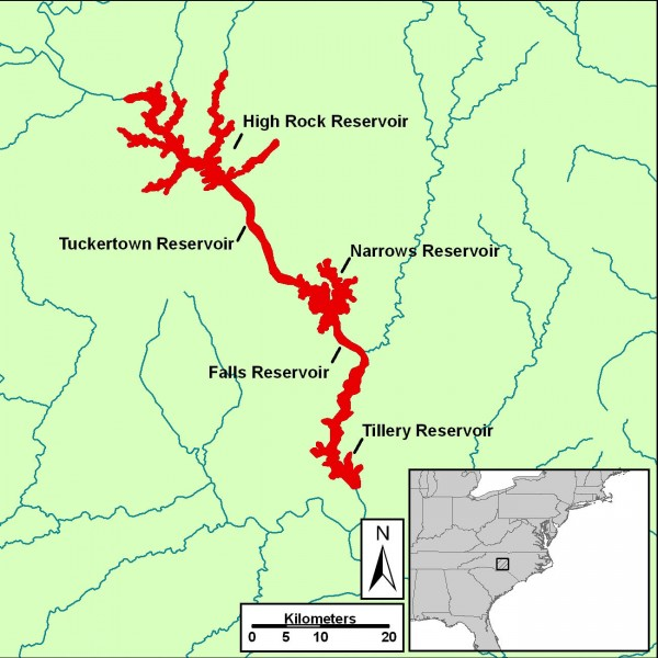 Map of reservoirs in the upper Pee Dee Basin in the Piedmont of North Carolina