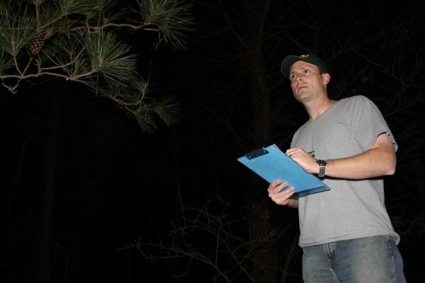 Michael Wilson stops to count birds along a nightjar survey route in Virginia