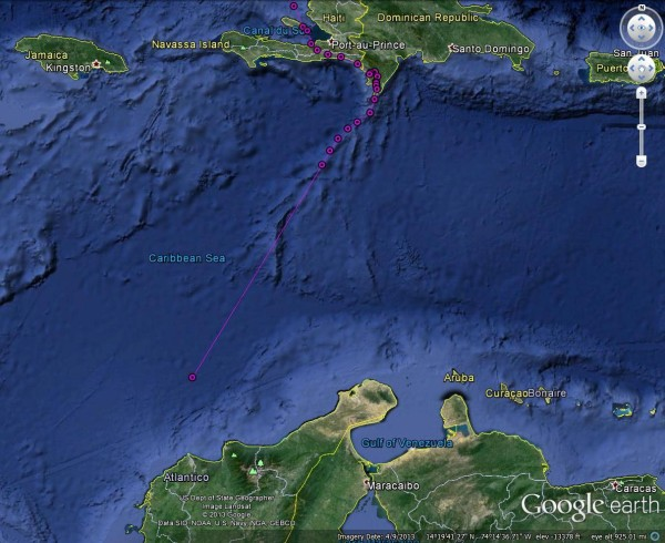 Jett stopped transmitting over the Caribbean Sea 9/26.
