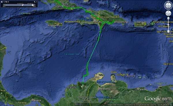 The osprey Rice flew across the Caribbean Sea in 25 hours.