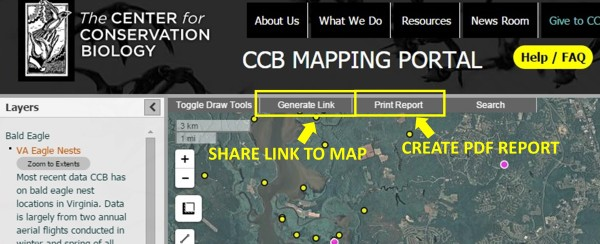 """Use the """"Generate Link"""" button to create a shareable link to the current map in the URL bar. Use the """"Print Report""""button to create a PDF report of the current map."""