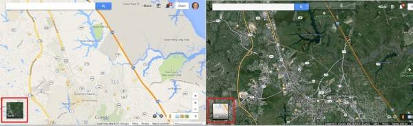 Google Maps map earth view comparison