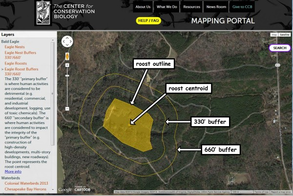 Eagle roost centroid layer in Mapping Portal explaination