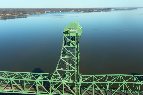 North lift tower of the Benjamin Harrison Bridge. Nest box is visible on the catwalk. Photo by Bryan Watts.
