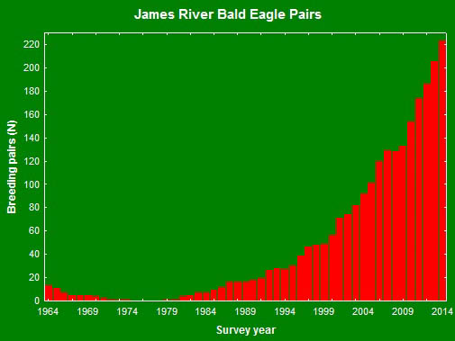 Results of bald eagle breeding survey along the James River from 1964 through 2014. Data from The Center for Conserv