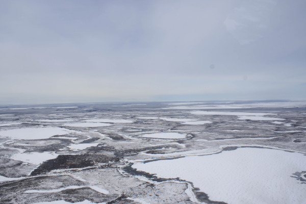 Frozen tundra in early June 2012 on the Mackenzie Delta. Photo by Fletcher Smith.
