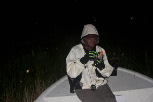 CCB technician Dan McCauley, dons an anti-bug suit while conducting black rail surveys on a marsh edge in North Carolina. Photo by accompanying biologist , Zak Poulton.