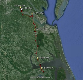 Overview of Grace's path up the coast from Aug. 24th - Aug. 29th, 2015.