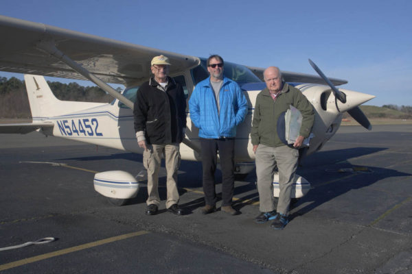 Bald eagle survey crew (The A-Team) including Captain Fuzzzo Shermer (left), Bryan Watts (middle) and Mitchell Byrd (right). The team has been lucky enough to witness and document and incredible recovery of the Virginia breeding population. Photo by Bart Paxton.