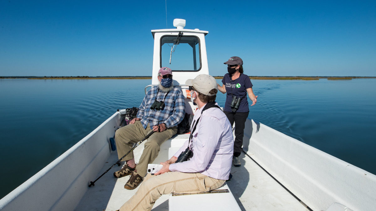 Barry Truitt, Laura Chamberlin and Alex Wilke talk shorebirds on a trip out to Smith Island