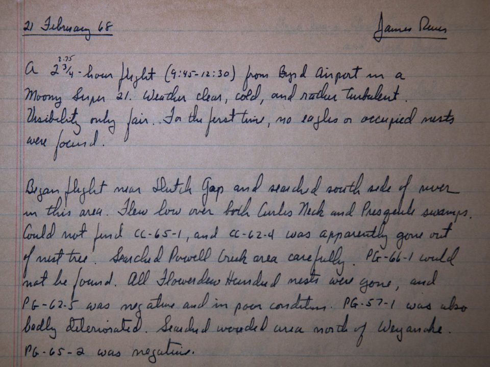 Beginning of field notes made by Fred Scott on 21 February 1968 describing a bald eagle nest survey