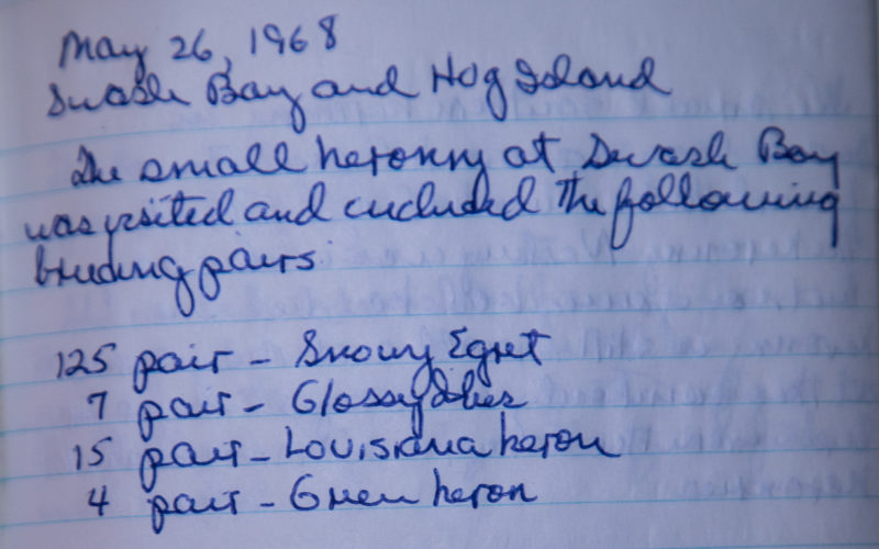 Entry from 26 May 1968 by Mitchell Byrd describing a survey of a heronry on Swash Bay