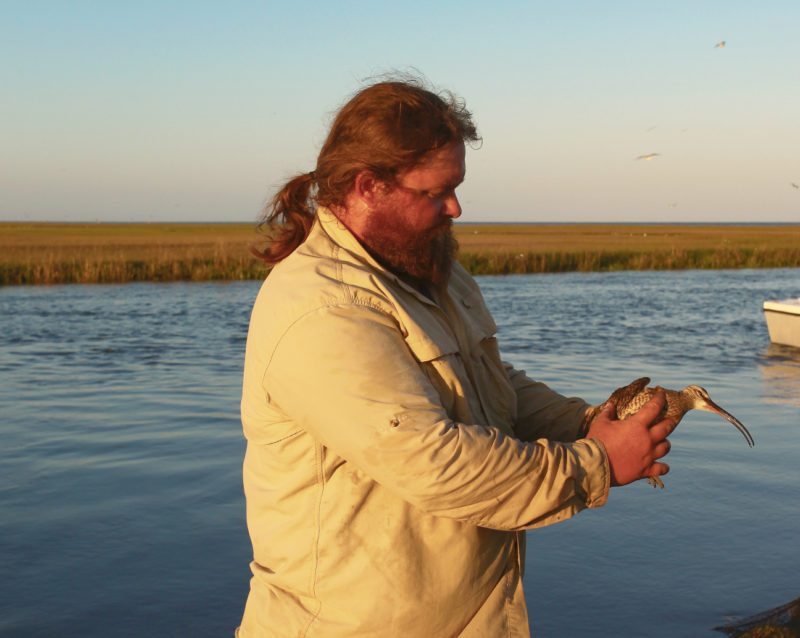 Fletcher Smith holds one of the first whimbrels to be captured along the Delmarva in 2008