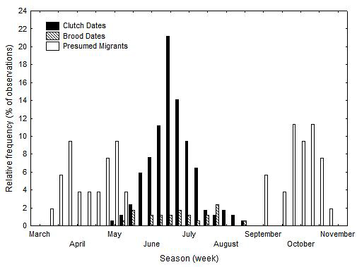 Frequency distribution of historic egg records, brood records and birds presumed to be migrants for eastern black rails