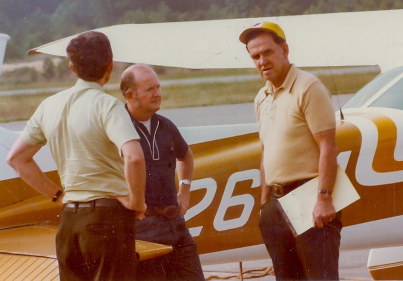 Mitchell Byrd (center) at the Williamsburg-Jamestown Airport waiting to take off for an eagle flight in the late 1970s.