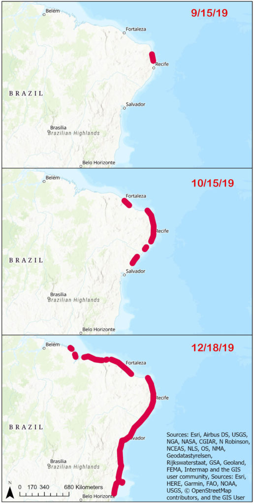Time series of reported crude oil washed up along the coast of Brazil.