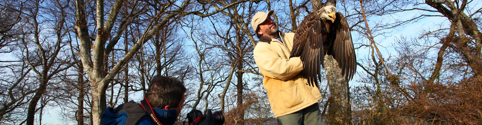Bryan Watts gets photographed with Bald Eagle